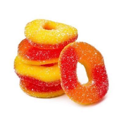 cbd isolate gummy rings peach